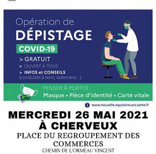 INFOS ET DEPISTAGE COVID-19 LE MERCREDI 26 MAI 2021