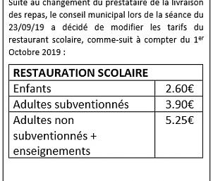 Changement de Tarif Restauration Scolaire